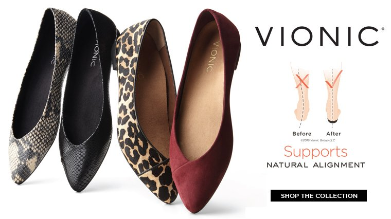 Hero-1-Flats-13-9-2016 Vionic. Supports natural alignment. Shop the collection. Image of  4 ballet flats in red, cheetah print, black and snake skin.