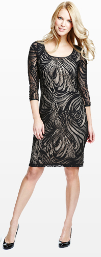 Scoop Neck Swirl Lace Dress