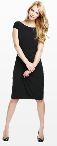 Pleated Mock Wrap Dress