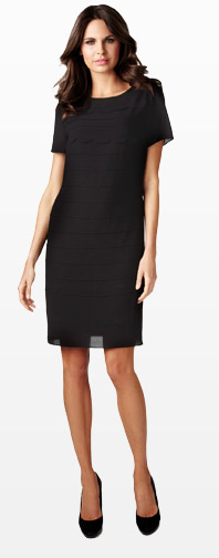 Slash Neck Frill Shift Dress