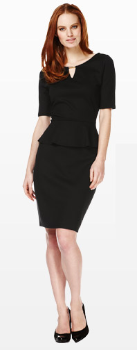 Slash Buckle Neck Peplum Shift Dress
