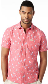 North Coast Pure Cotton Boat Print Slim