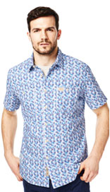 North Coast Pure Cotton Feather Print Shirt