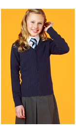 Girls' Cable Knit Cardigan with Stay New™ £6.40 - £11.20