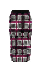 Pure Merino Wool Houndstooth Print Knitted Pencil Skirt £119