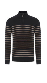 2in Longer Blue Harbour Pure Cotton Half Zip Striped Jumper