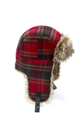 Wool Blend Faux Fur Checked Trapper Hat