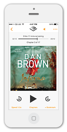 iPhone Audible App with Dan Brown Inferno audiobook