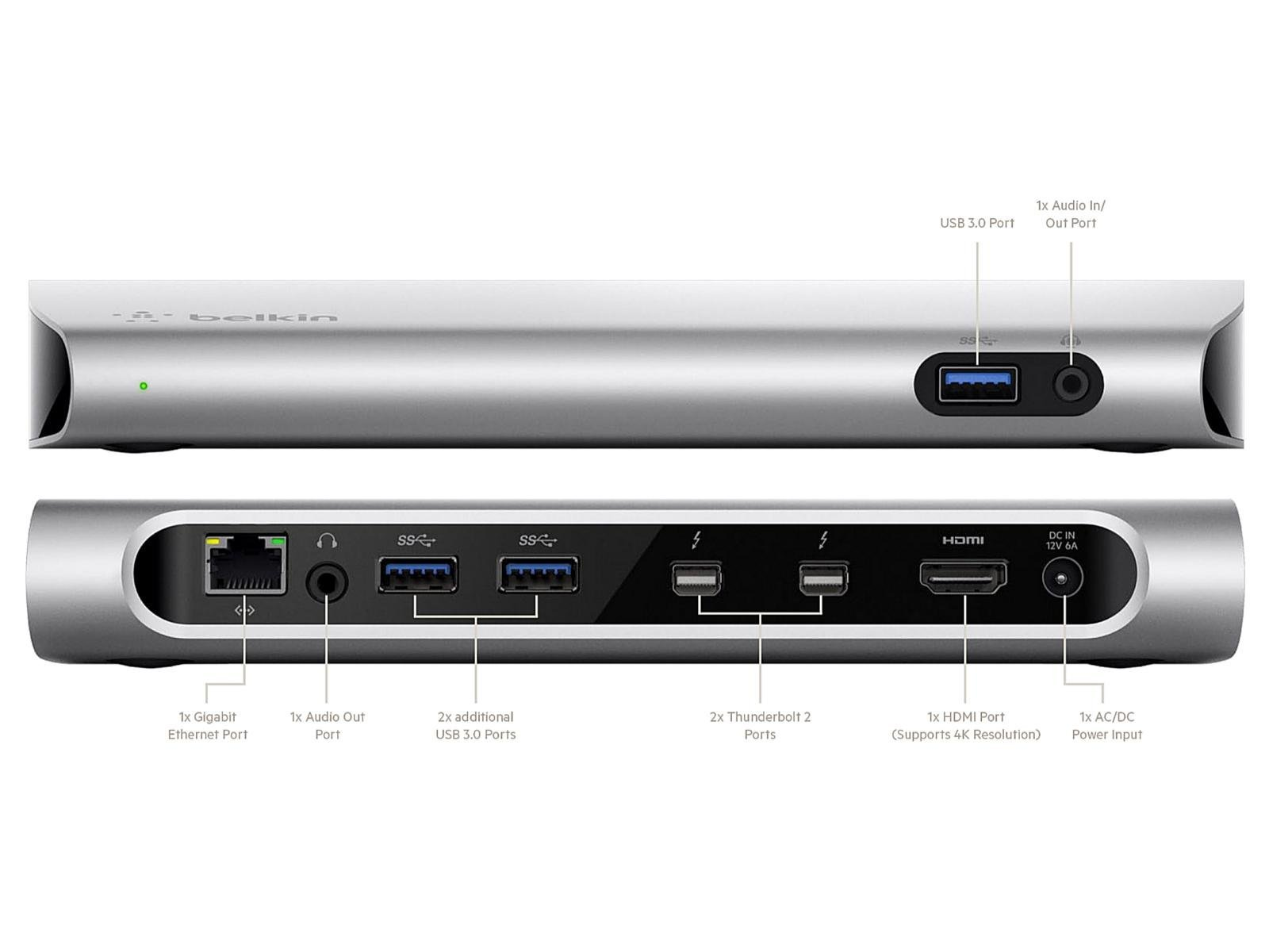 Belkin Thunderbolt 2 Express Dock HD 8-Ports with 1m Cable ...