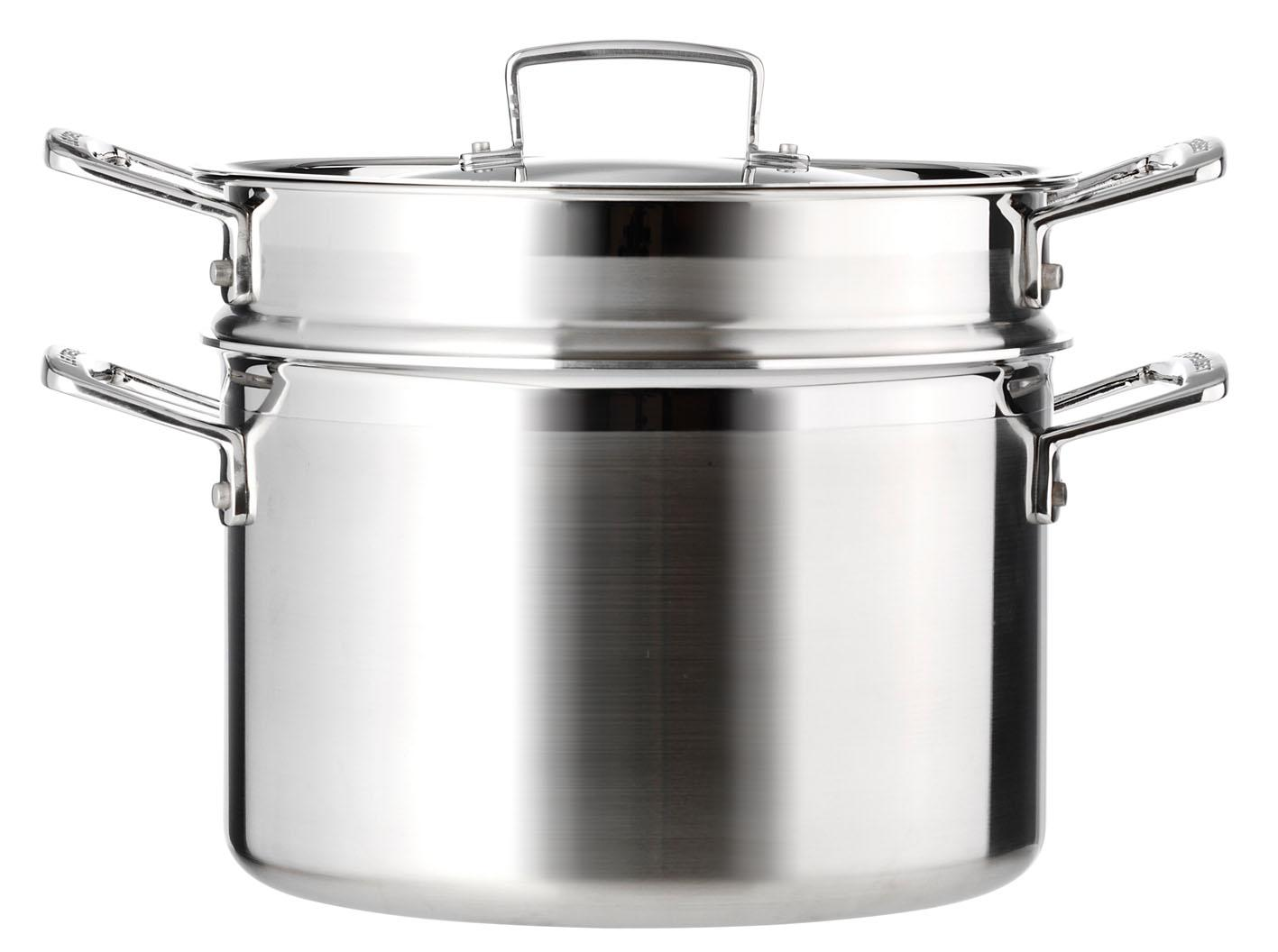 le creuset 3 ply stainless steel pasta pot 20 cm kitchen home. Black Bedroom Furniture Sets. Home Design Ideas