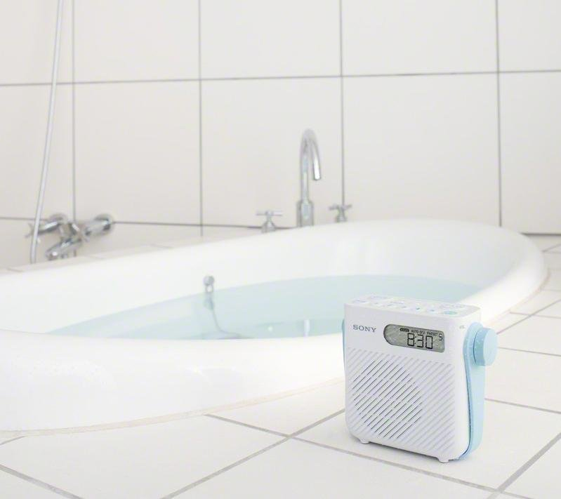 NEW Sony ICFS80 Splash Proof Shower Bathroom Wet Room Radio Speaker LONG BATTERY