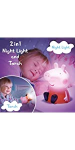Night light; kids light; kids lamp; peppa pig night light; night light and torch; childs night light