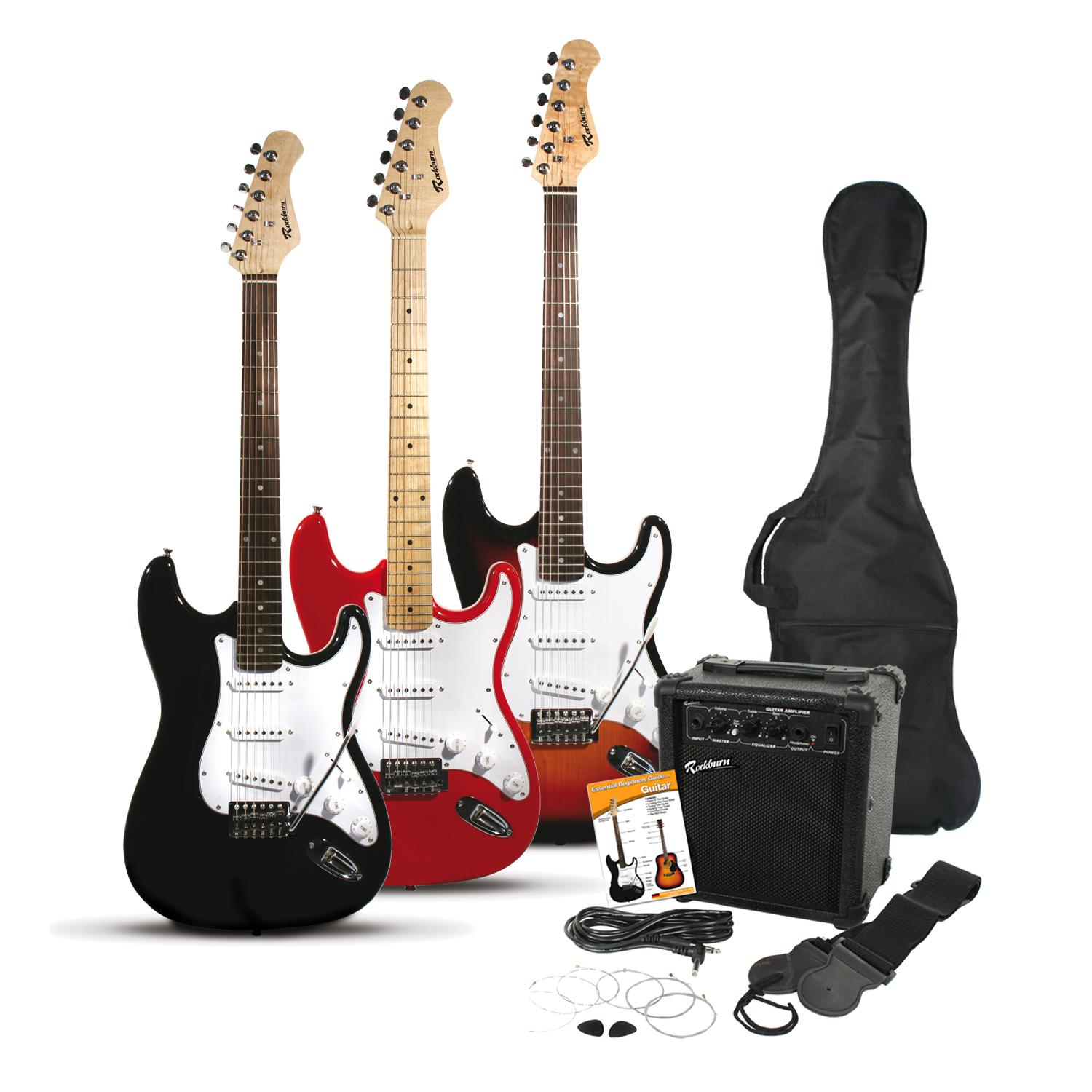 rockburn st style electric guitar pack with and gig bag strings