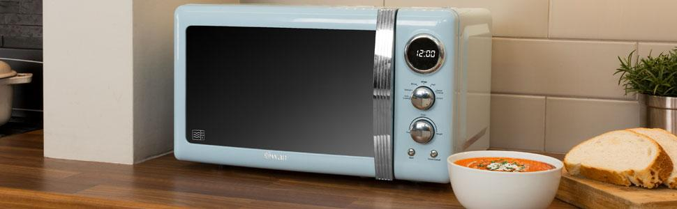 Blu 800 W SWAN RETRÒ digitale a microonde