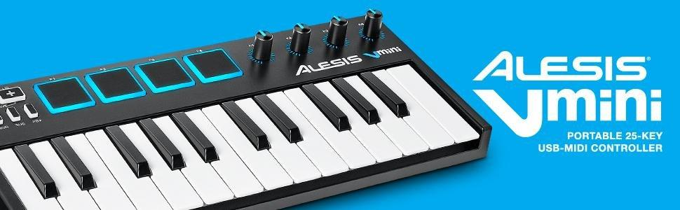 alesis v mini portable 25 key usb midi controller with xpand software musical. Black Bedroom Furniture Sets. Home Design Ideas