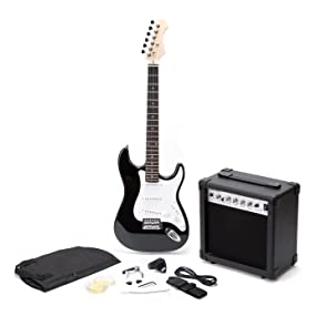 rockjam full size electric guitar superkit with amp strings tuner strap case and cable. Black Bedroom Furniture Sets. Home Design Ideas