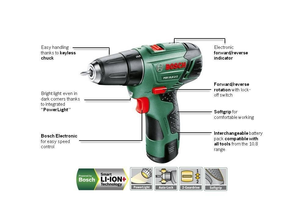 bosch psr 10 8 li 2 cordless lithium ion drill driver with 1 x 10 8 v battery 1 5 ah. Black Bedroom Furniture Sets. Home Design Ideas