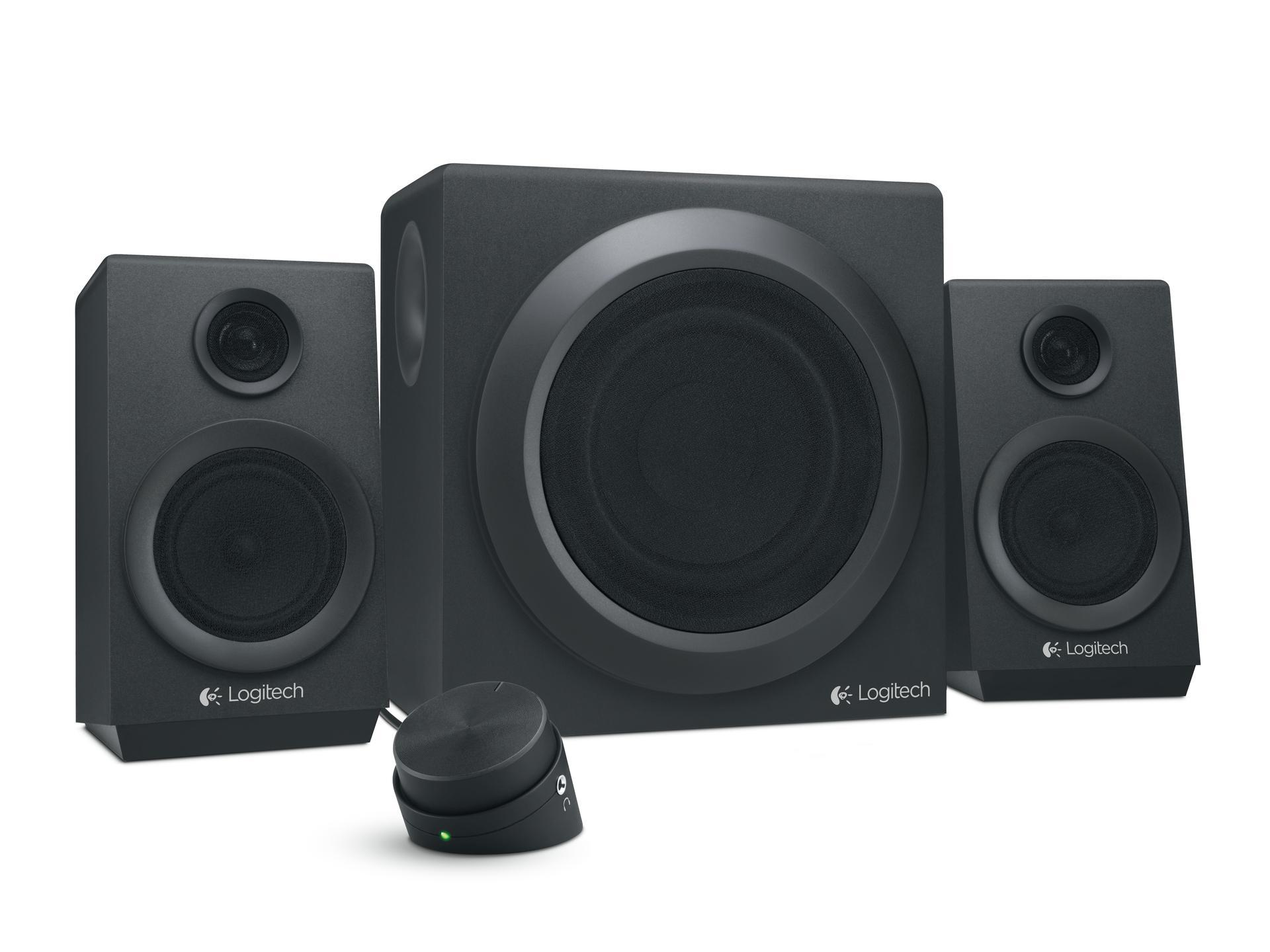 logitech z333 speaker system multimedia speakers with premium subwoofer black. Black Bedroom Furniture Sets. Home Design Ideas