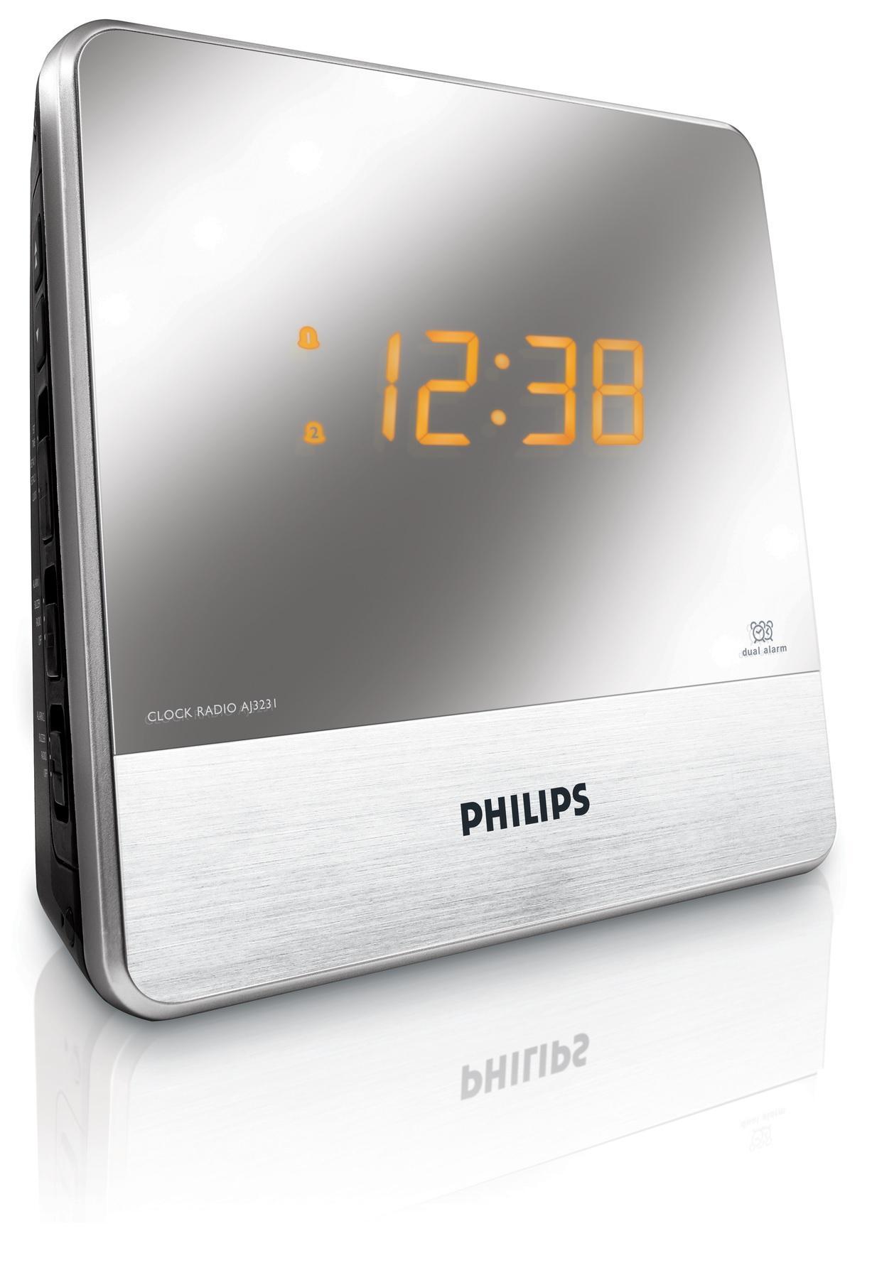philips aj3231 05 clock radio mirror finish display tv. Black Bedroom Furniture Sets. Home Design Ideas