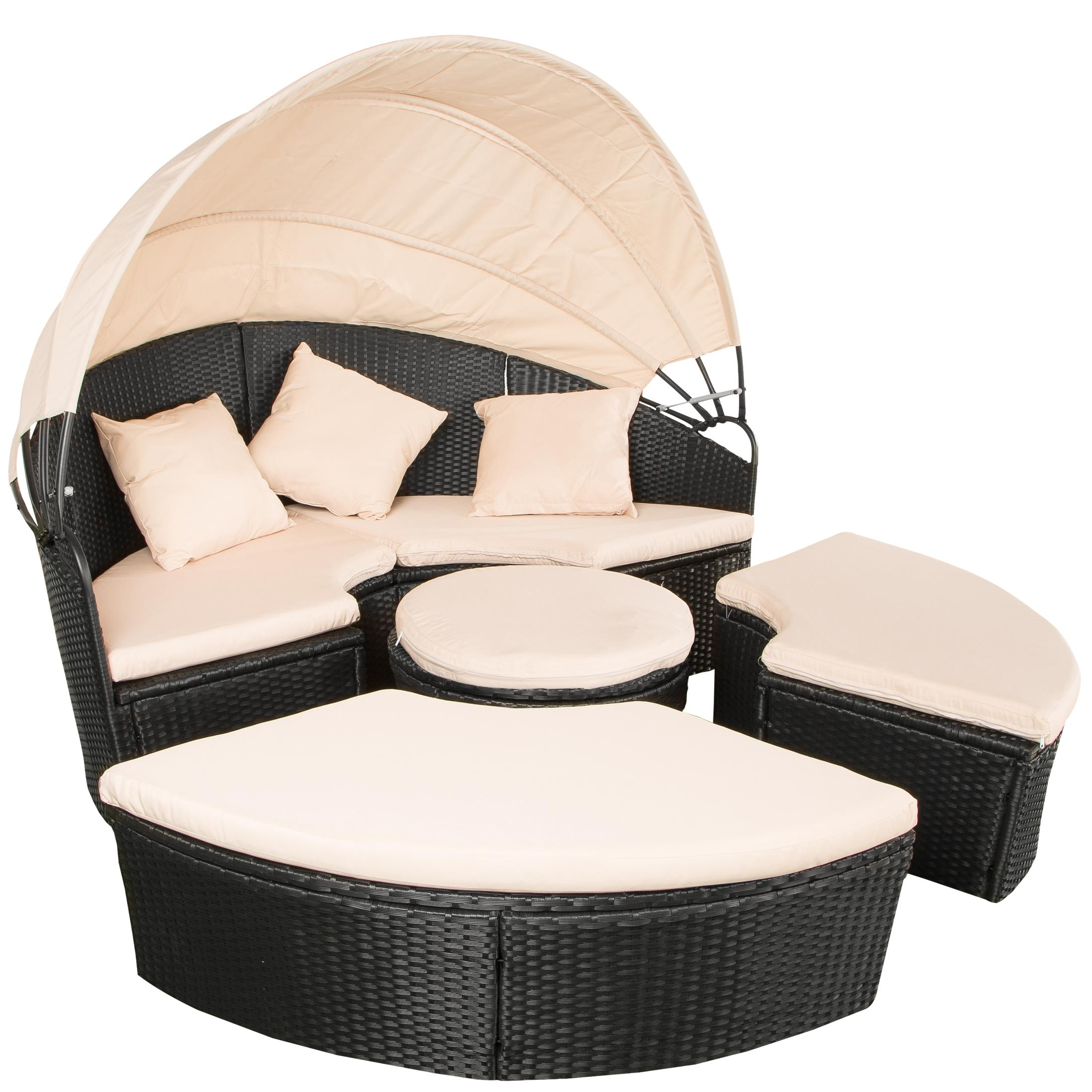 ultranatura polyrattan palma series round sun lounger with foldable canopy incl cushioning. Black Bedroom Furniture Sets. Home Design Ideas