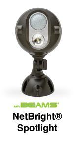 mr beams netbright spotlight, networked spotlight, wireless security light