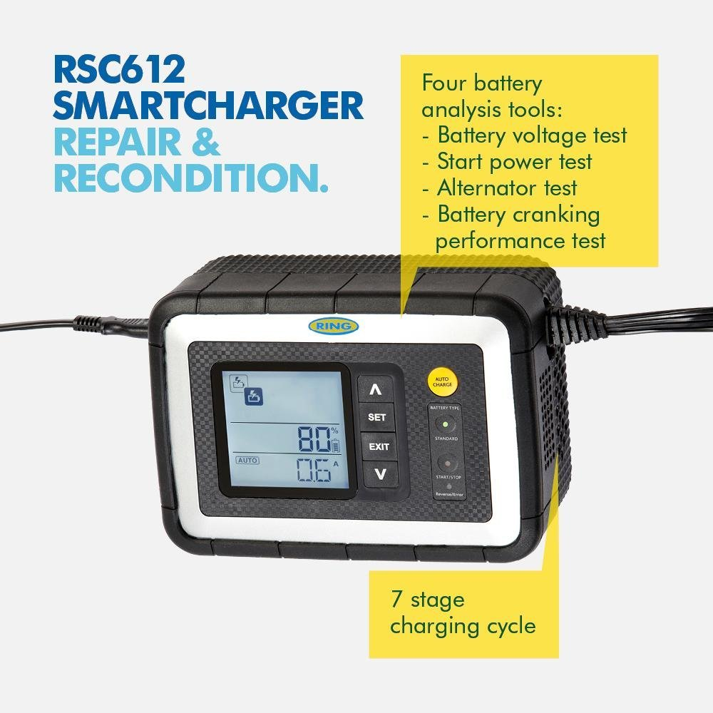 Ring RSC605 12V Start//Stop Car Smart Multistage Fully Automatic Battery Charger