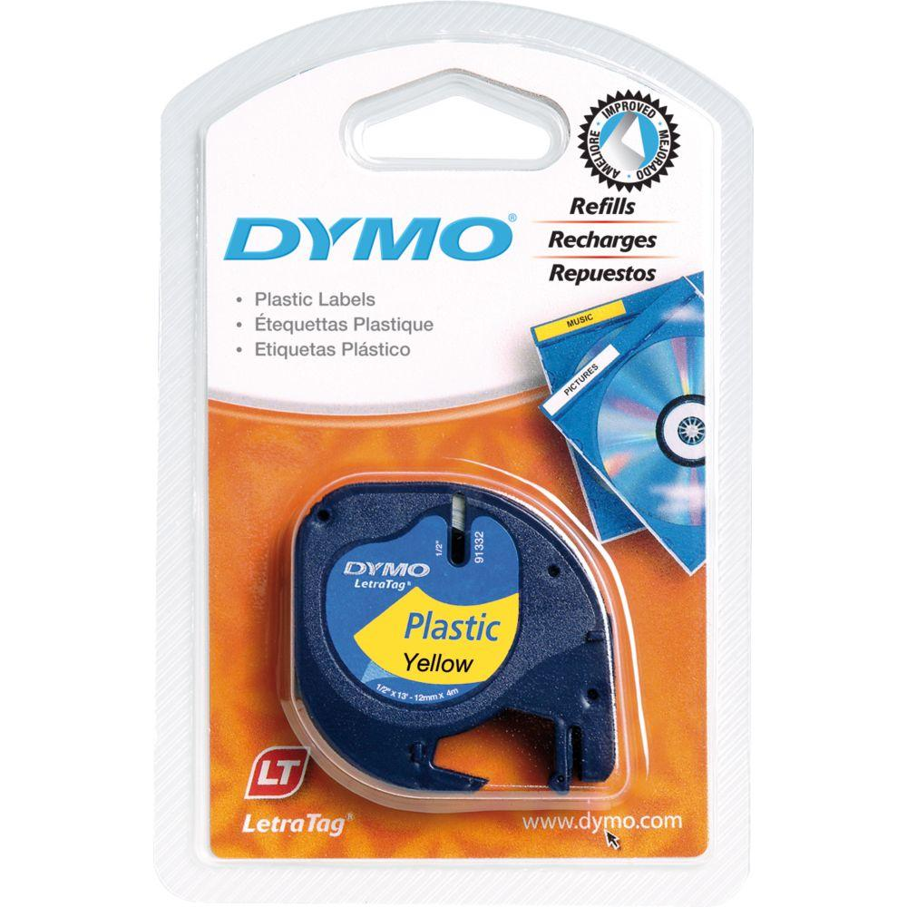 Dymo LetraTag Plastic Label Tape, 12 Mm X 4 M Roll, Yellow