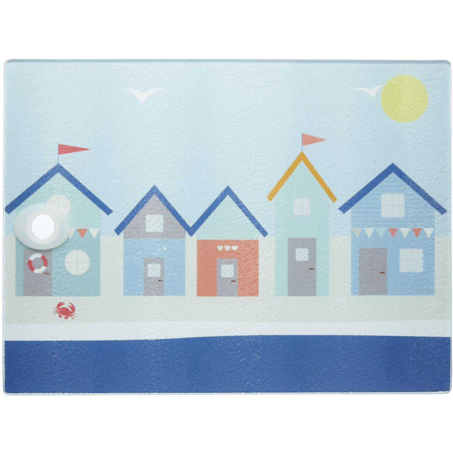 KitchenCraft Coastal\' Toughened Glass Worktop Saver, 40 x 30 cm (16 ...