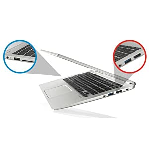 The Toshiba Chromebook 2 comes with a USB 2.0 port, a USB 3.0 port, HDMI-out and an SD card slot