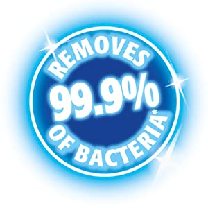 Removes 99.9% of bacteria--logo