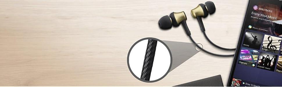 Sony, mdr-ex650 earphones, brass housing, smartphone mic control