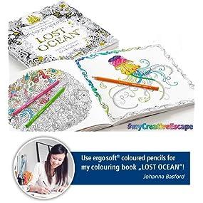 Johanna Basford Lost Ocean book and ergosoft coloured pencils