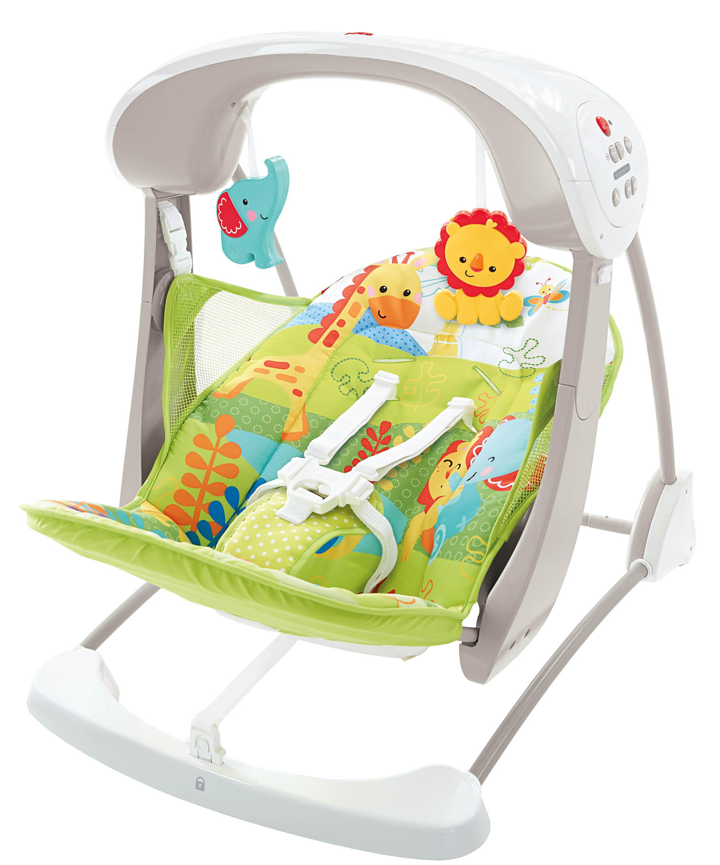 Fisher-Price Rainforest Take Along Swing and Seat Set, New-born Baby Swing Chair with Calming ...