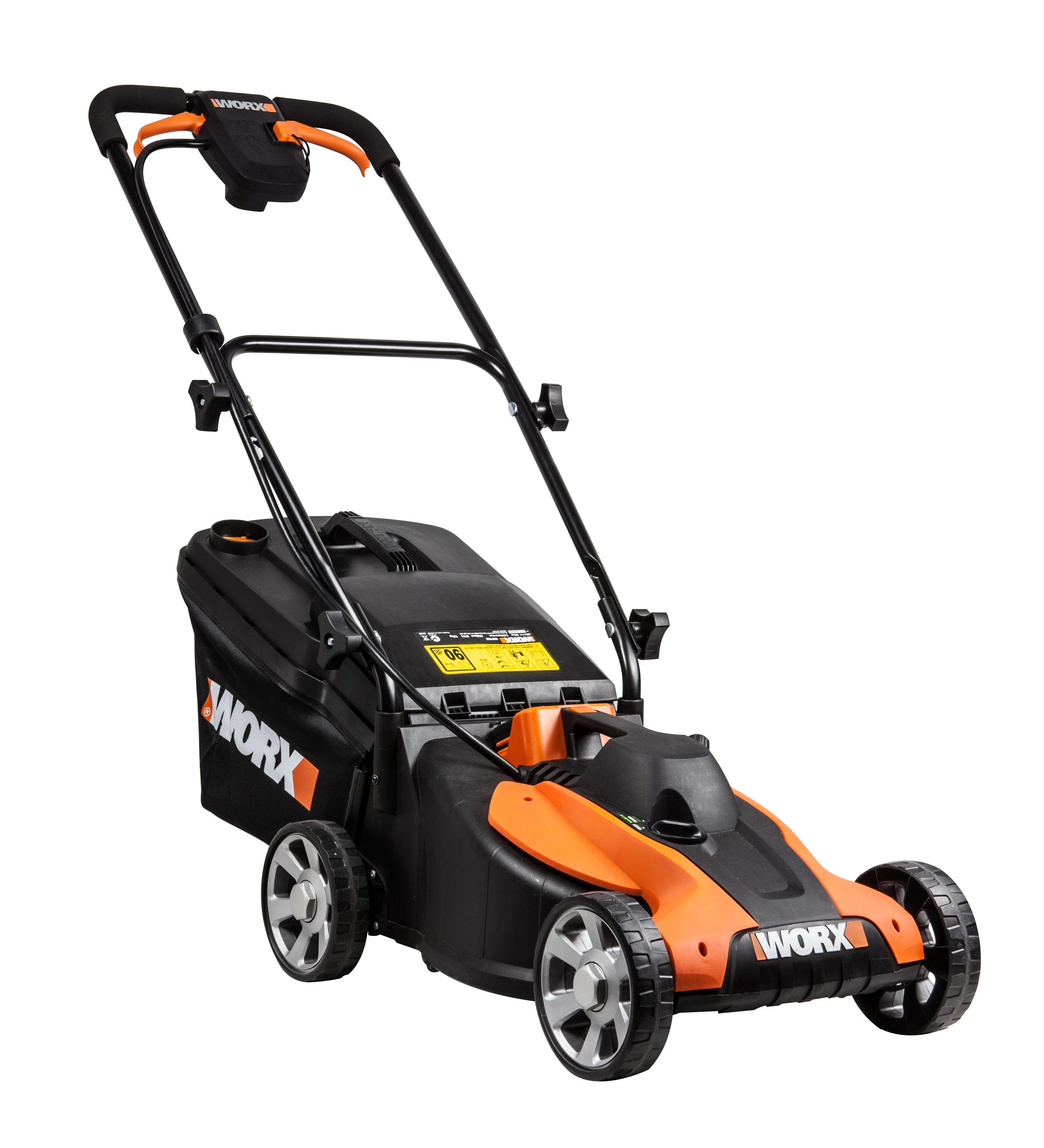 worx wg776e 40 v lithium ion cordless 33cm lawn mower diy tools. Black Bedroom Furniture Sets. Home Design Ideas