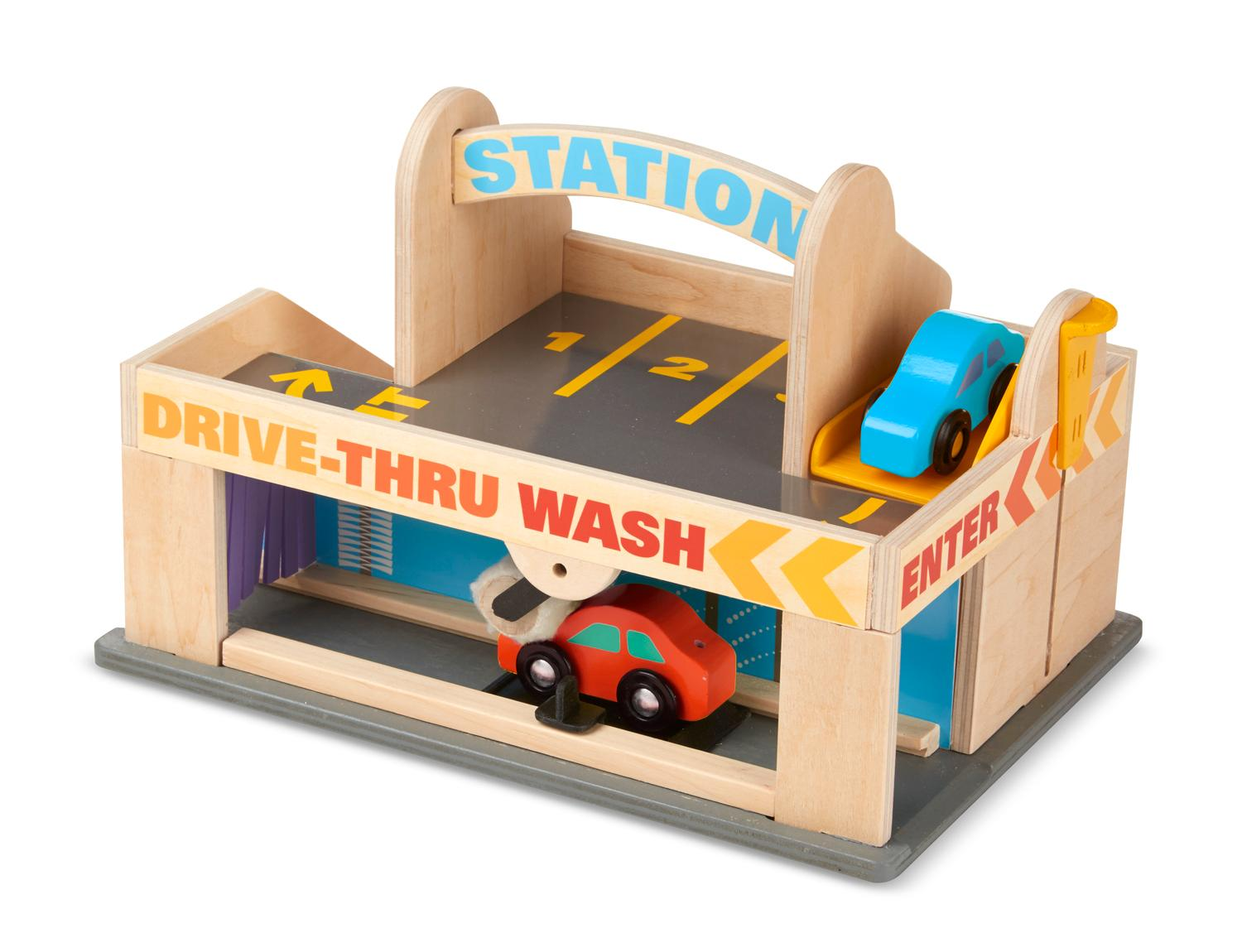 Gas Station With Drive Thru Car Wash >> Melissa & Doug Service Station Parking Garage With 2 Wooden Cars and Drive-Thru Car Wash: Amazon ...