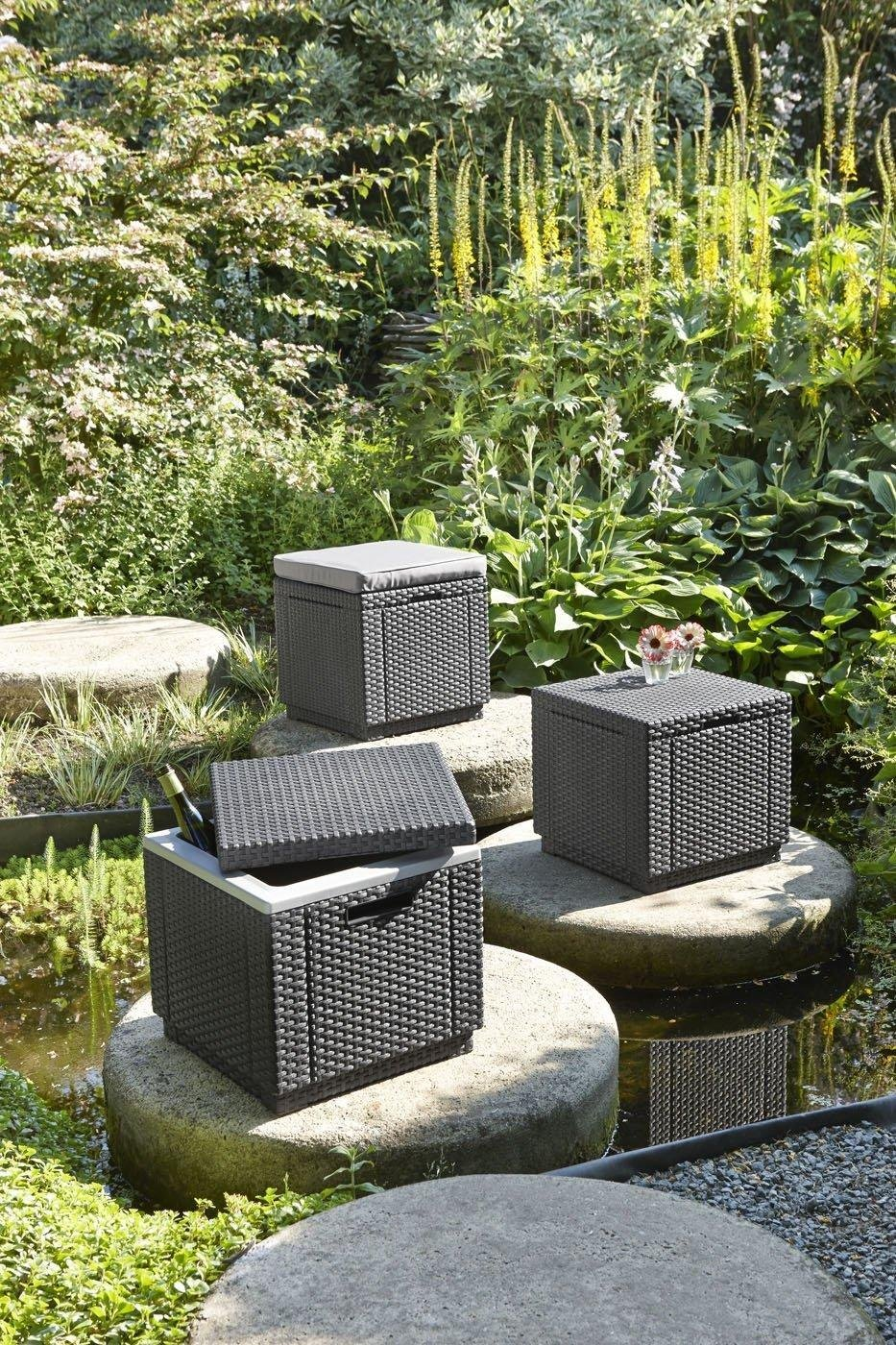 Keter rattan ice cooler bucket box outdoor garden for Outdoor furniture amazon
