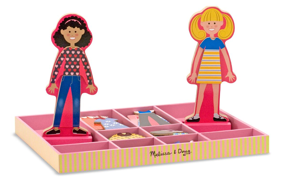 Melissa & Doug Abby and Emma Deluxe Magnetic Wooden Dress-Up Dolls ...
