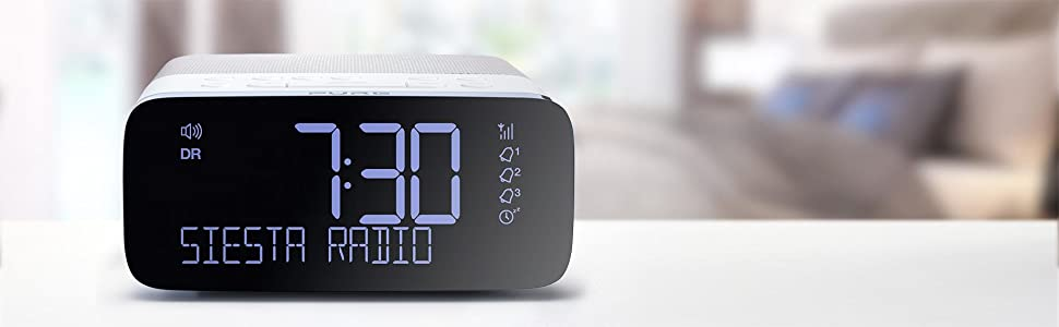 pure siesta rise dab alarm clock digital radio with fm and usb mobile charging ebay. Black Bedroom Furniture Sets. Home Design Ideas