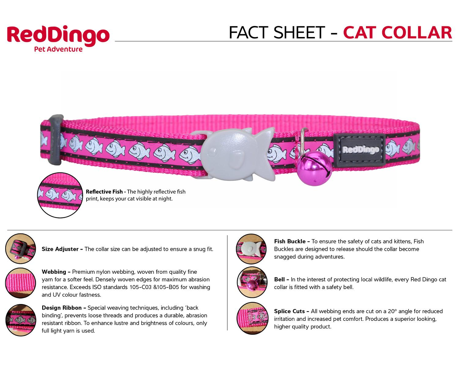 Red Dingo Cat Collar Reflective Fish Hot Pink 12MM