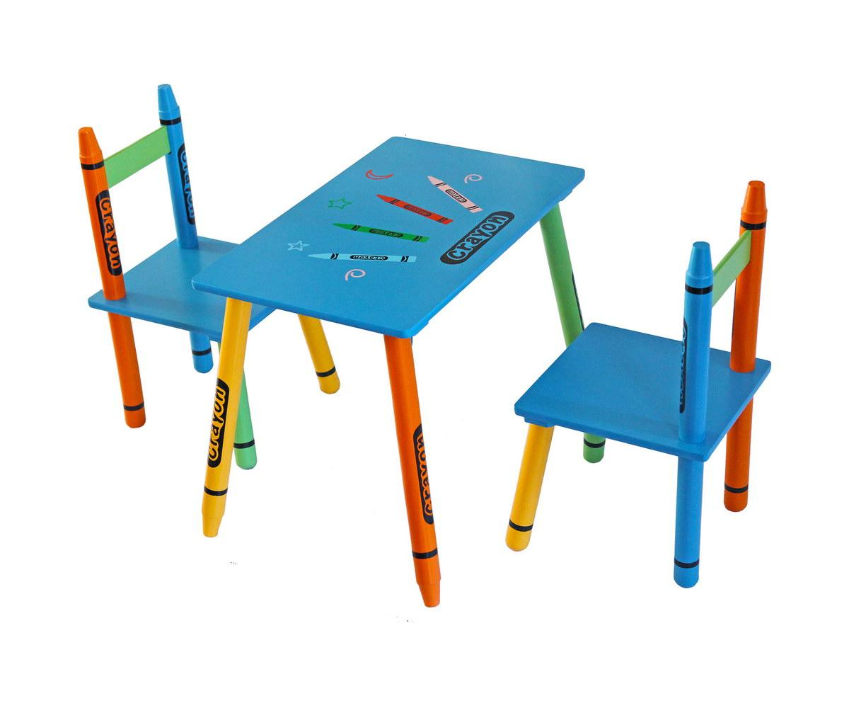 Bebe style childrens wooden table and chair set blue for Table and chair set