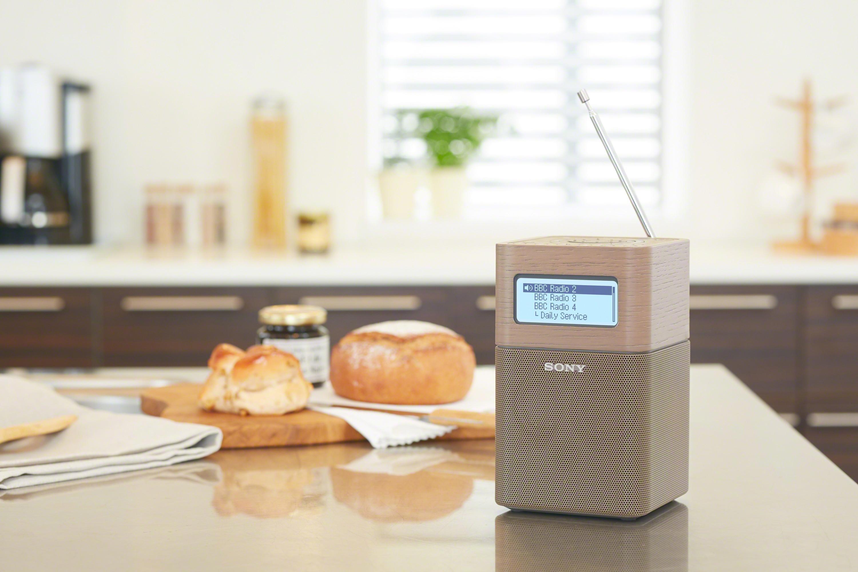 SONY XDR V1BTD Portable DAB DAB Clock Radio with Bluetooth Wood