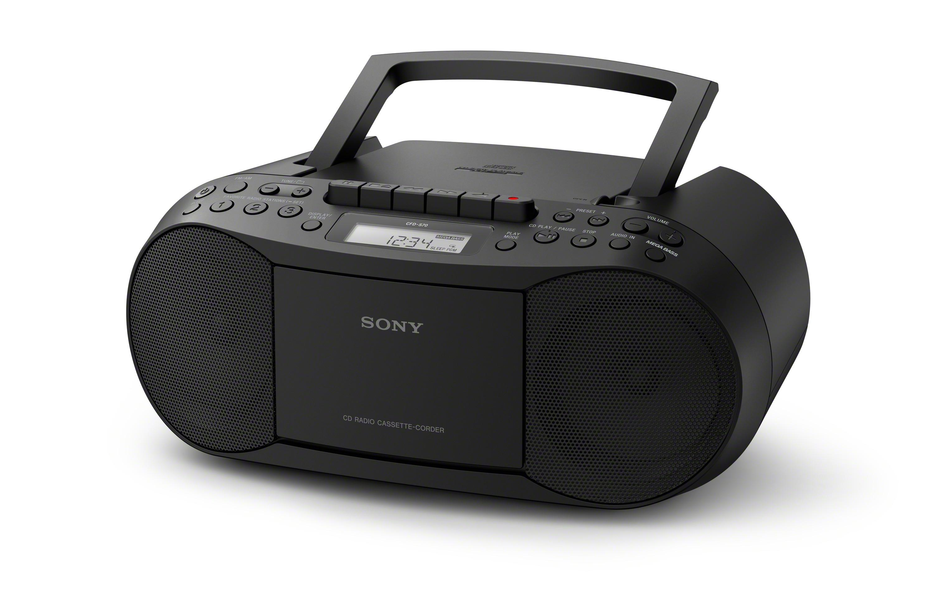 sony cfd s70 classic cd and tape boombox with radio black tv. Black Bedroom Furniture Sets. Home Design Ideas