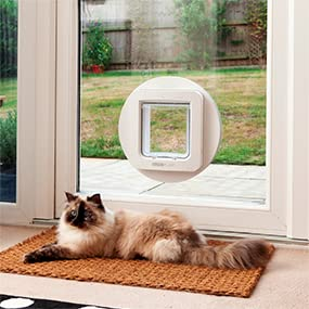 SureFlap DualScan Microchip Cat Flap installed into glass