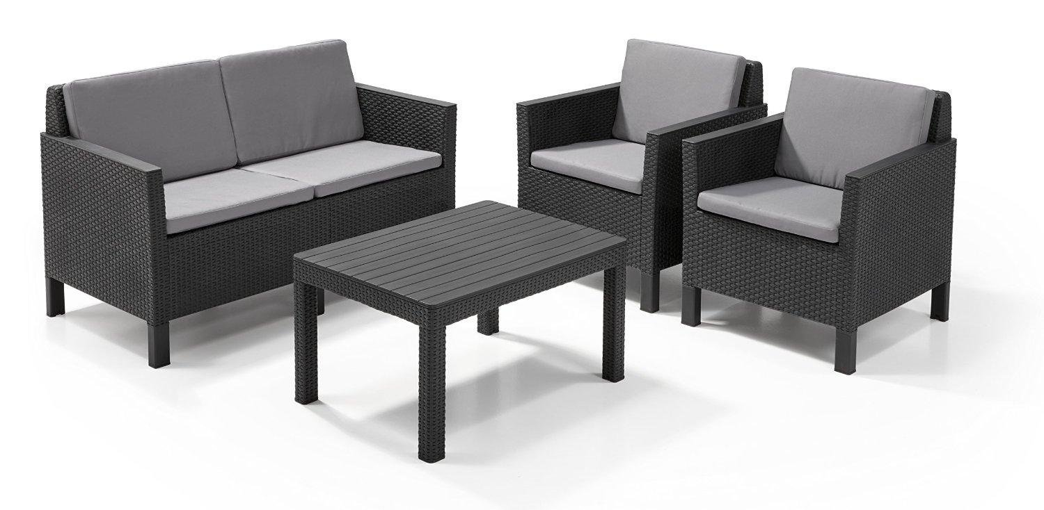 Allibert by keter chicago 4 seater rattan lounge outdoor for G furniture chicago