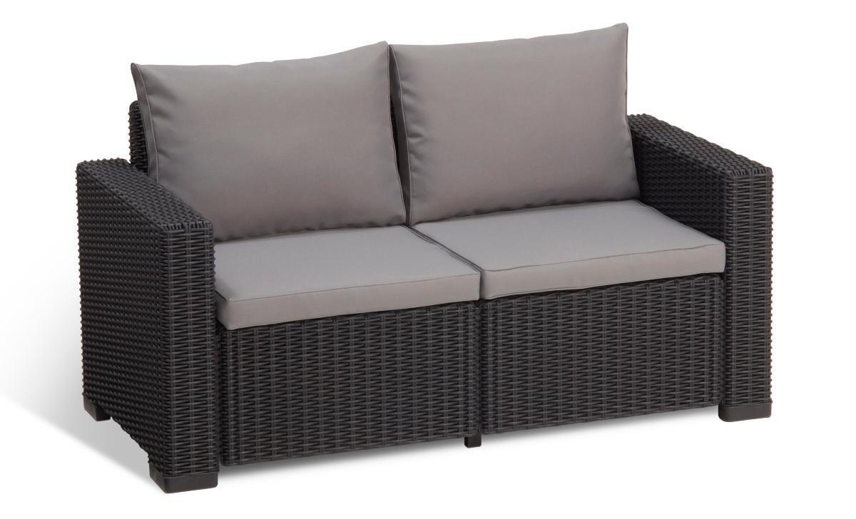 Allibert by keter california 2 seater rattan sofa outdoor for Sofa rattan jardin
