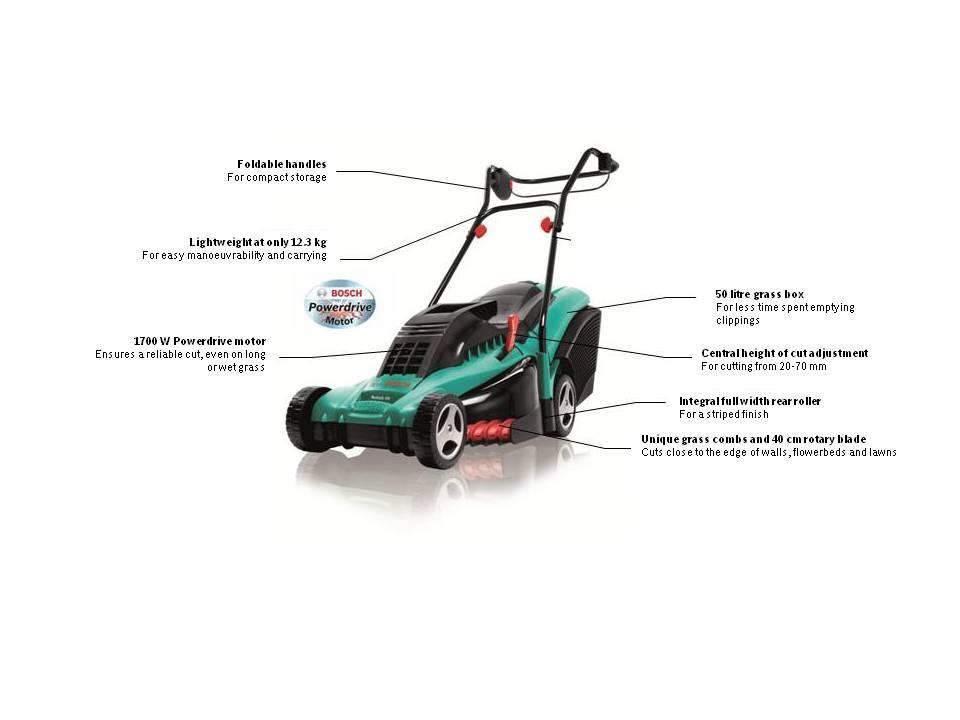 bosch rotak 40 electric rotary lawn mower diy tools. Black Bedroom Furniture Sets. Home Design Ideas