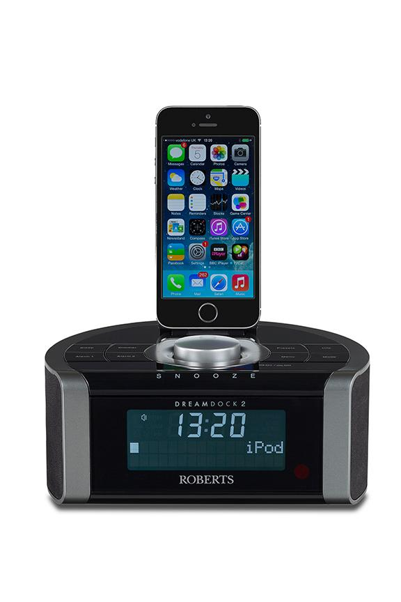 new roberts dreamdock2 dab clock radio with apple lightning connector black ebay. Black Bedroom Furniture Sets. Home Design Ideas