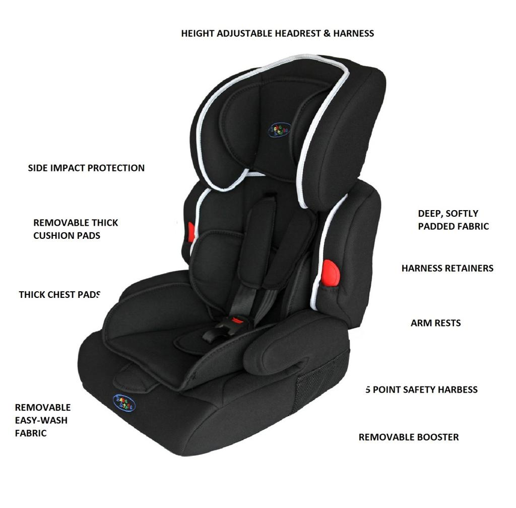 Bebe Style Deluxe Group 1 2 3 Childs Car And Booster Seat Jet