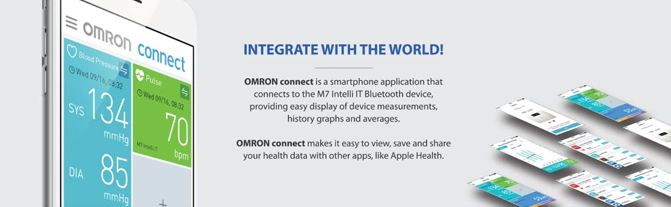 apple,health,bluetooth,ios,android,sync,omron,connect,blood pressure,digital,pulse,upper arm