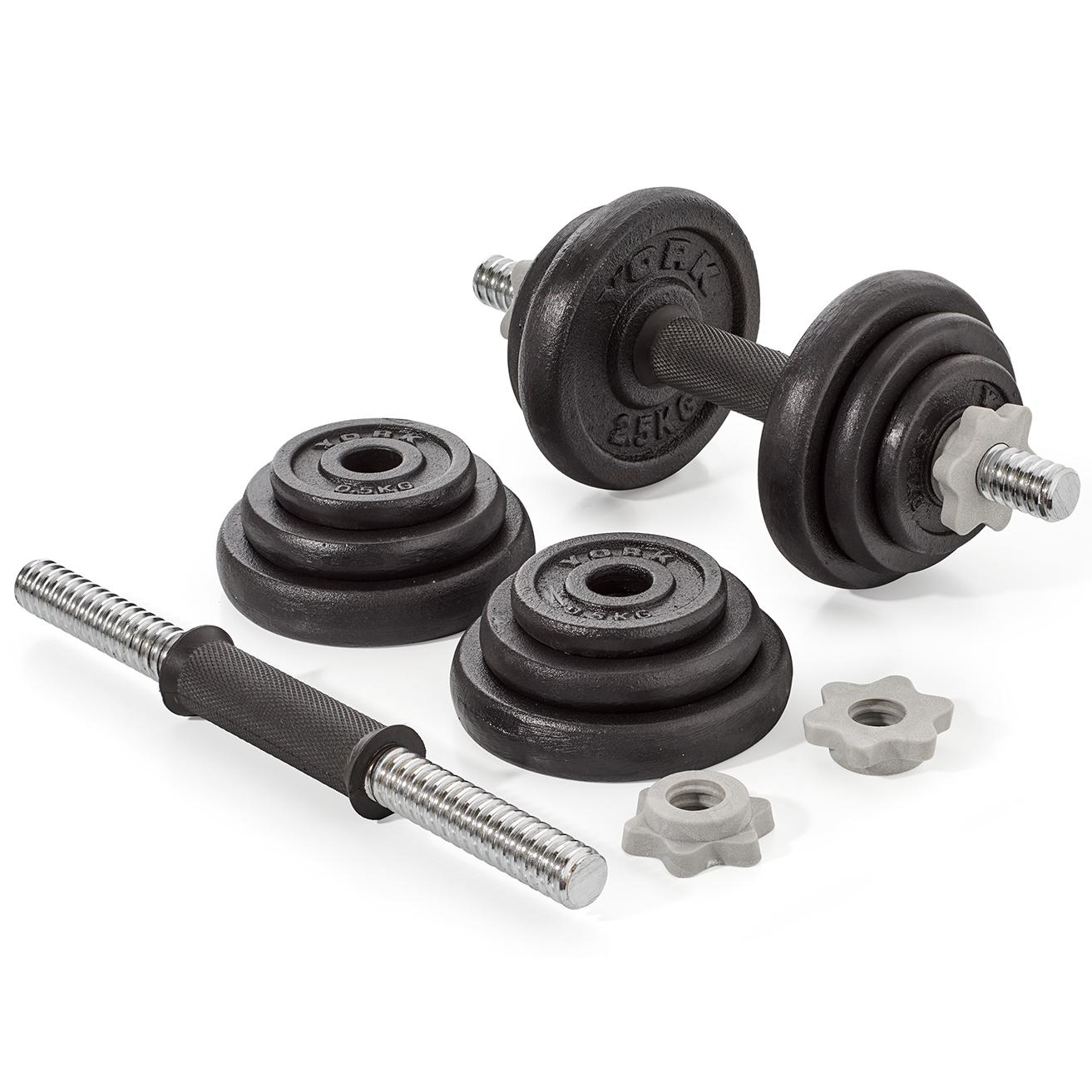 York 30kg Dumbbell Set: York Fitness 20kg Cast Iron Spinlock Dumbbell